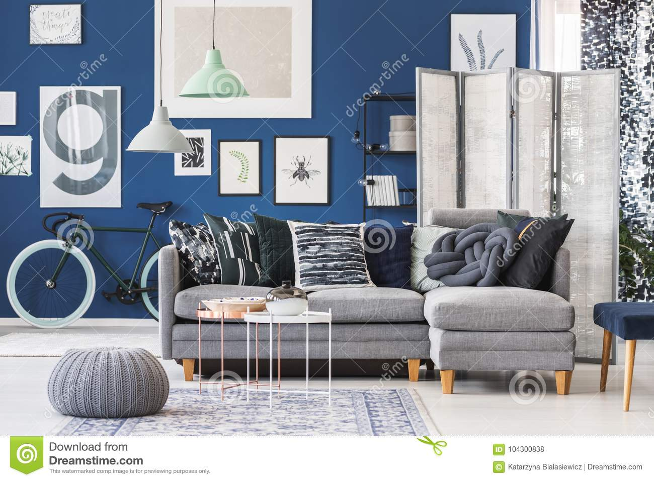 Grey Pouf In Living Room