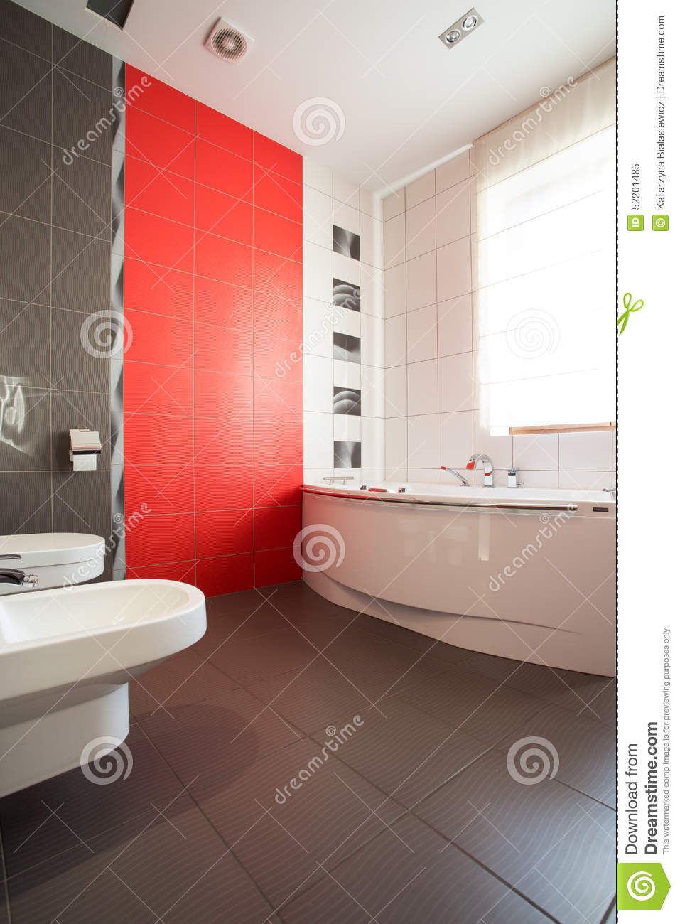 grey and red bathroom stock image image of interior 52201485. Black Bedroom Furniture Sets. Home Design Ideas