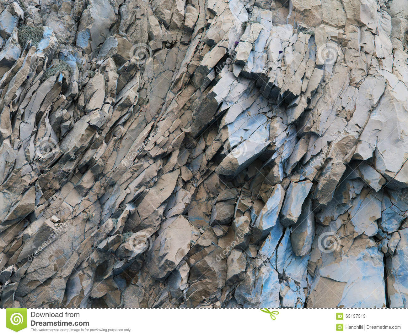 Grey Rocks Blue Color Abstract Background Stone