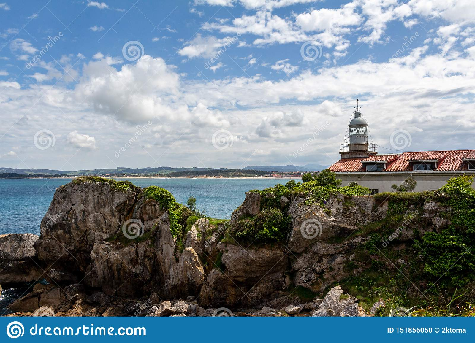 Santander lighthouse on the rocks Cantabria Spain