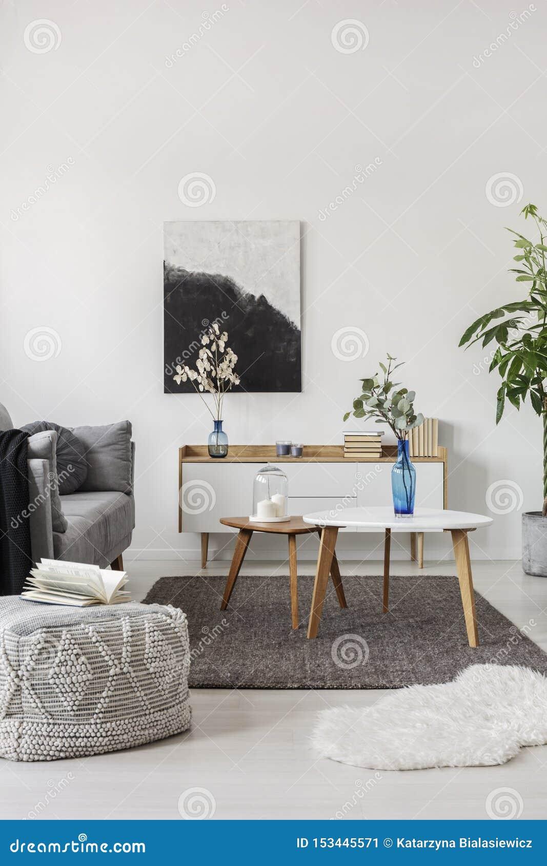 Grey Scandinavian Sofa In Bright Living Room Interior Stock Image Image Of Interior Condo 153445571