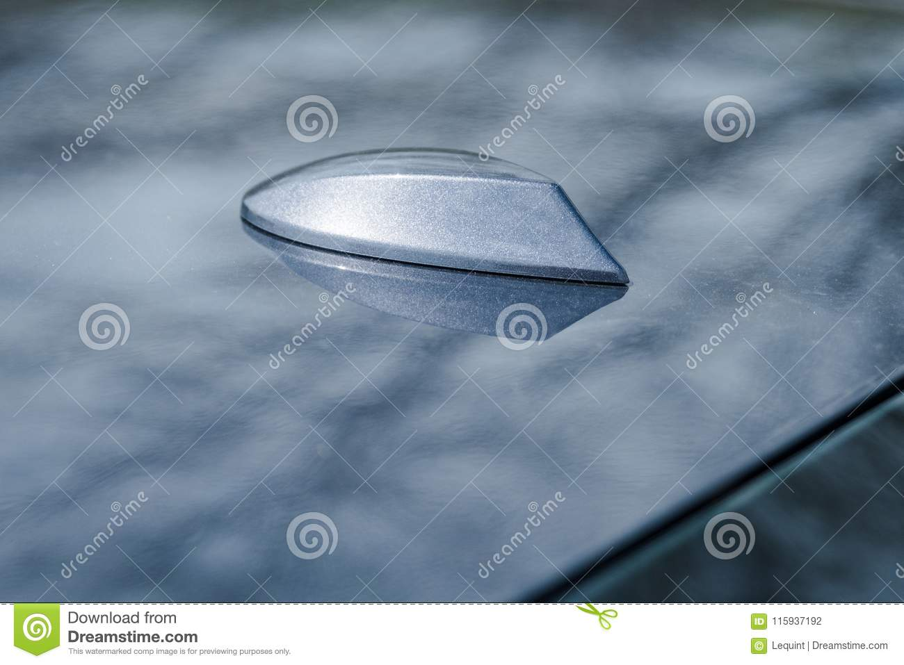 Shark Fin Roof Antenna On Modern Car Sedan Stock Photo