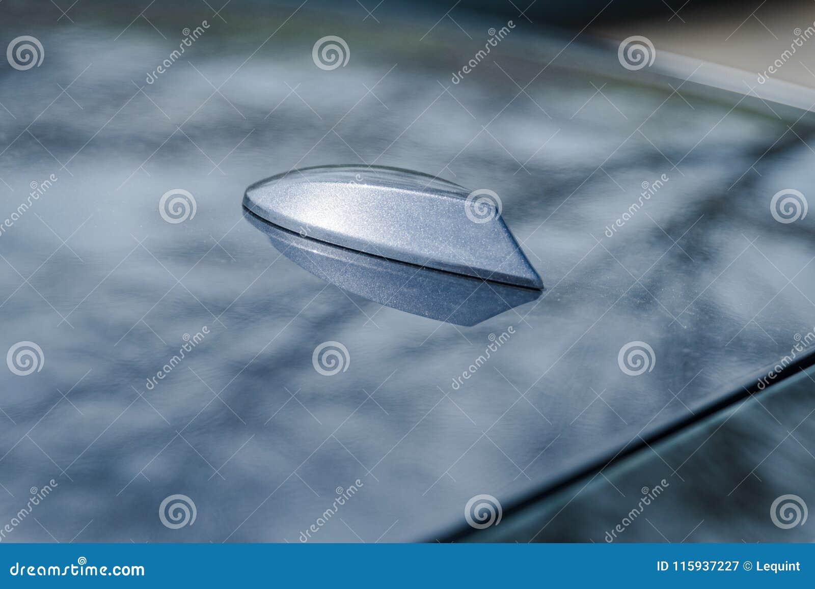 Shark Fin Roof Antenna On Modern Car Sedan Stock Image