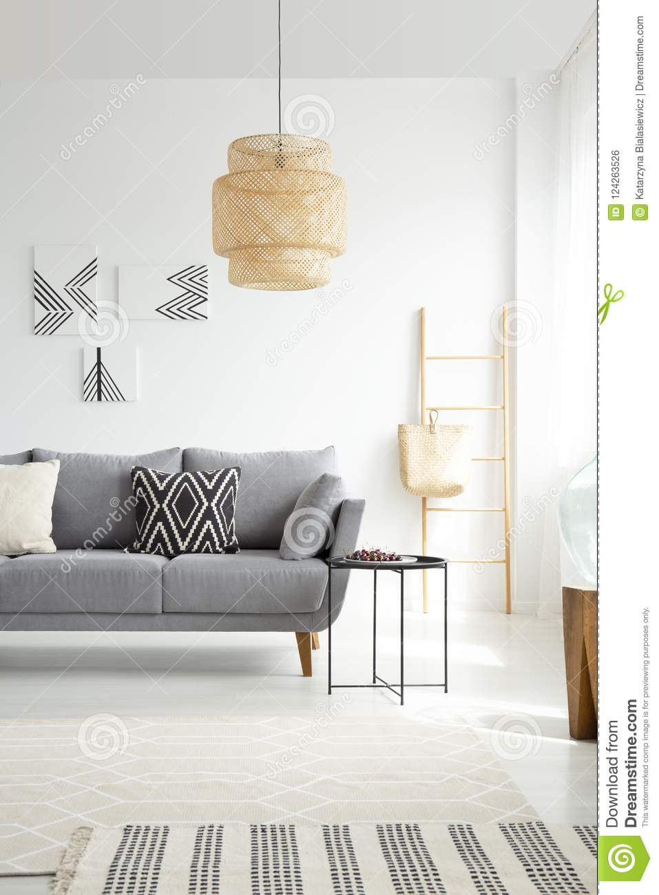 Grey settee with cushions in white spacious living room interior  sc 1 st  Dreamstime.com & Grey Settee With Cushions In White Spacious Living Room Interior ...