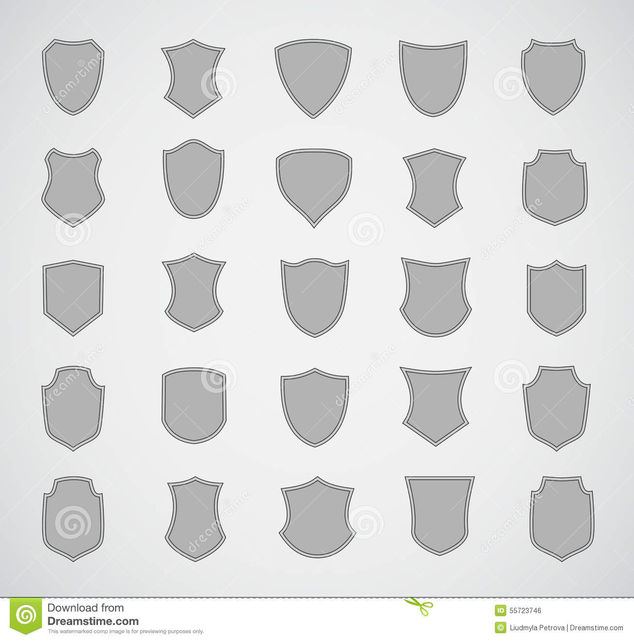 Shield design set royalty free stock photos image 5051988 - Grey Silhouette Shield Design Set Of Various Royalty Free Stock Image