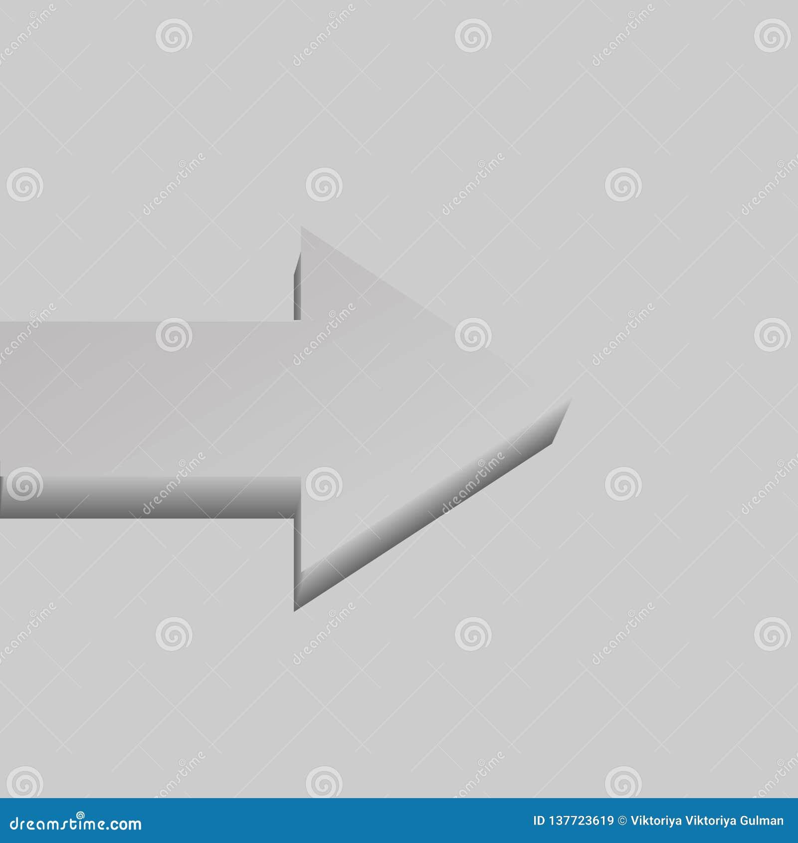 Grey single flat-lying vector arrow