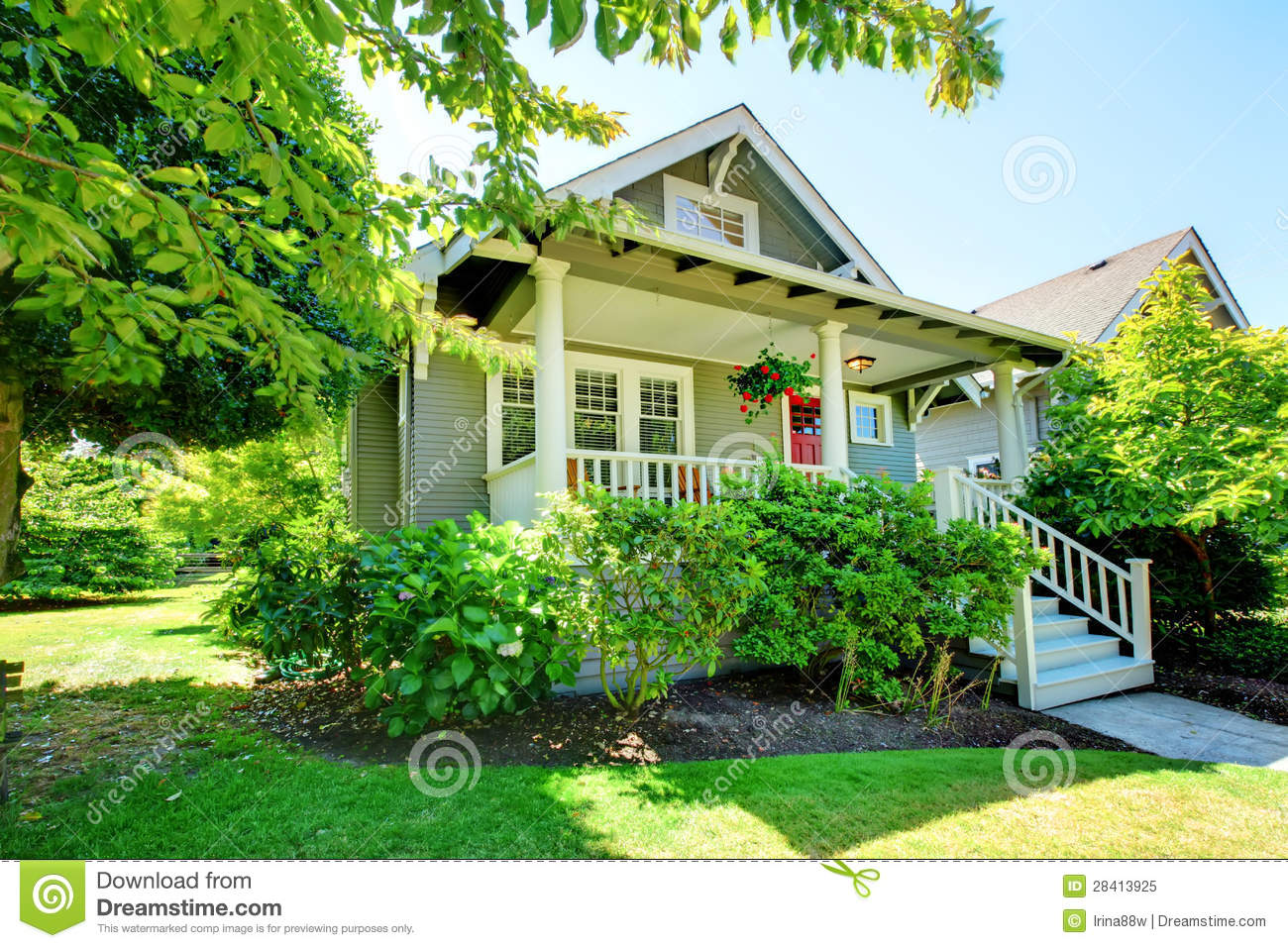 Grey Small House With Porch And White Railings Royalty