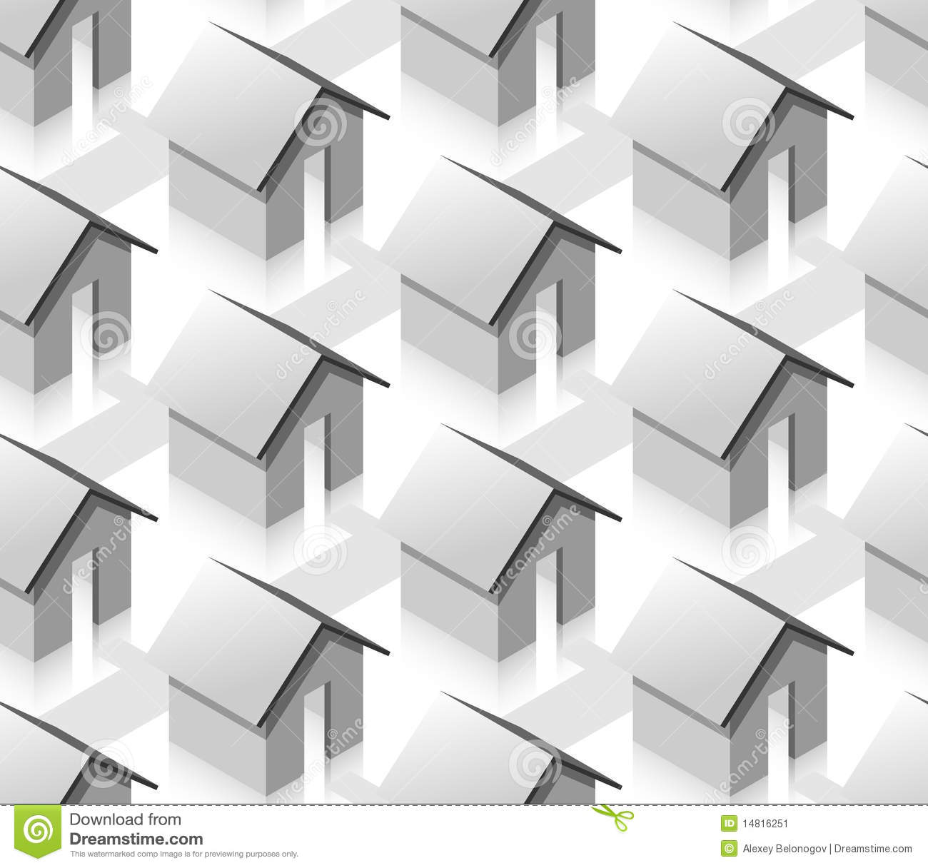 Grey small isometric houses seamless pattern