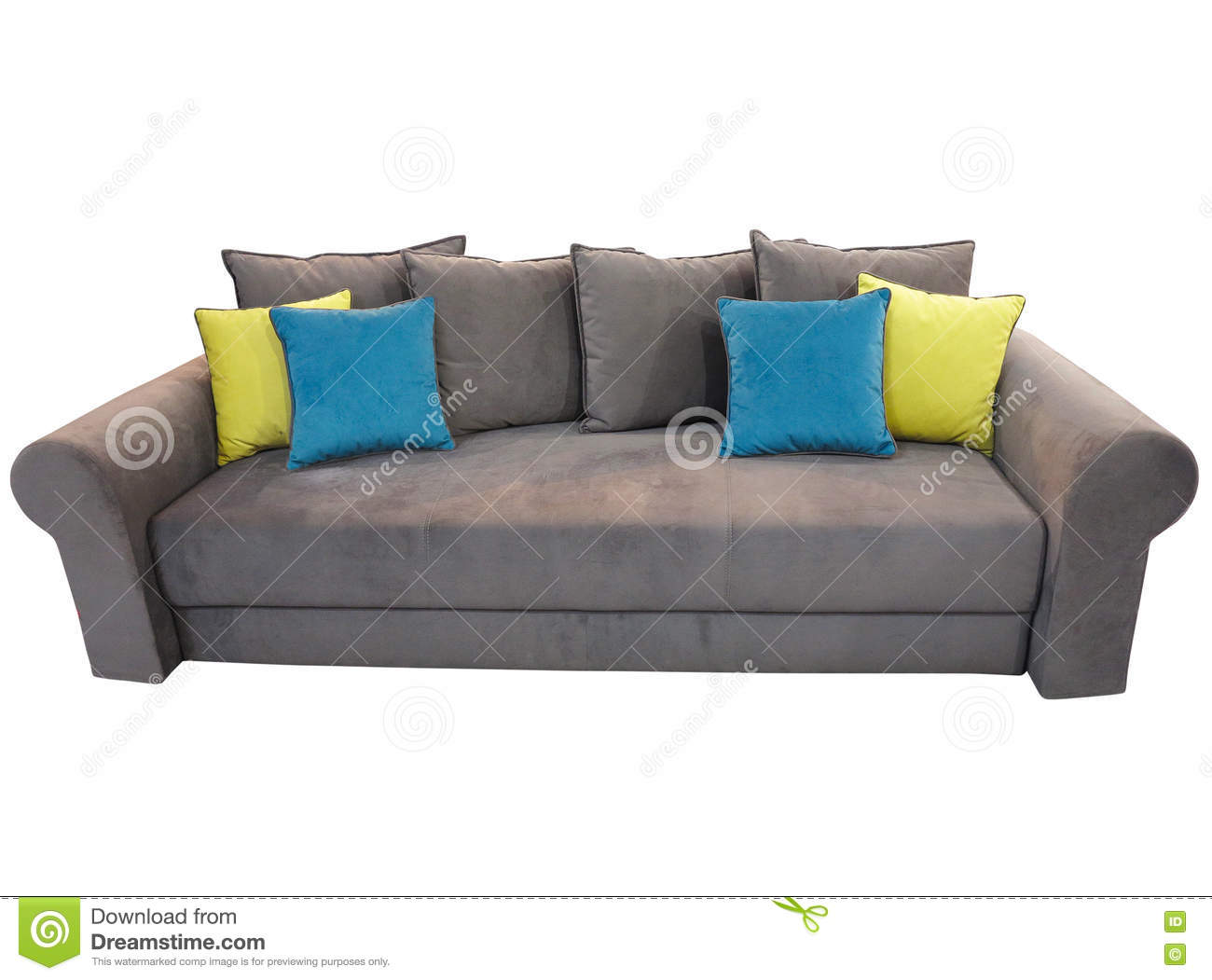 Grey Sofa Furniture With Colored Cushions Isolated On White Stock ...