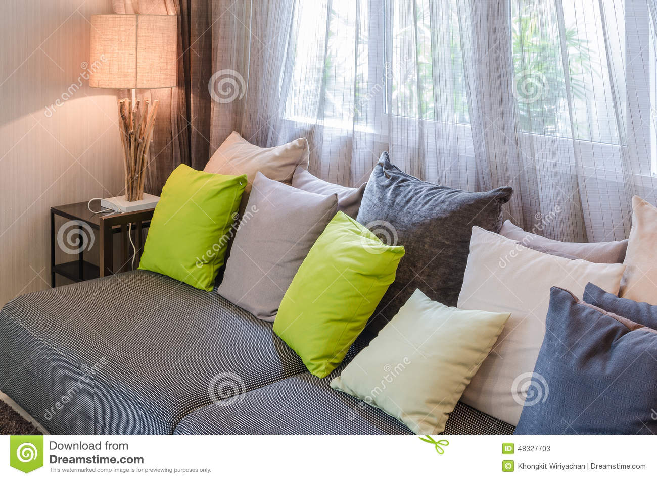 grey sofa with green pillows in living room stock image image 48327703. Black Bedroom Furniture Sets. Home Design Ideas