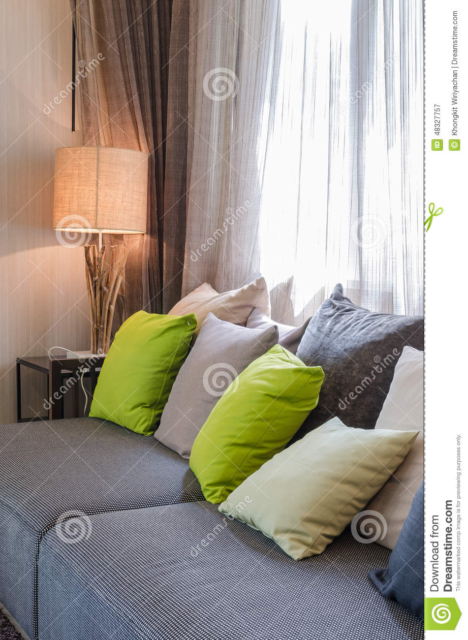 grey sofa with green pillows in living room stock photo image 48327757. Black Bedroom Furniture Sets. Home Design Ideas