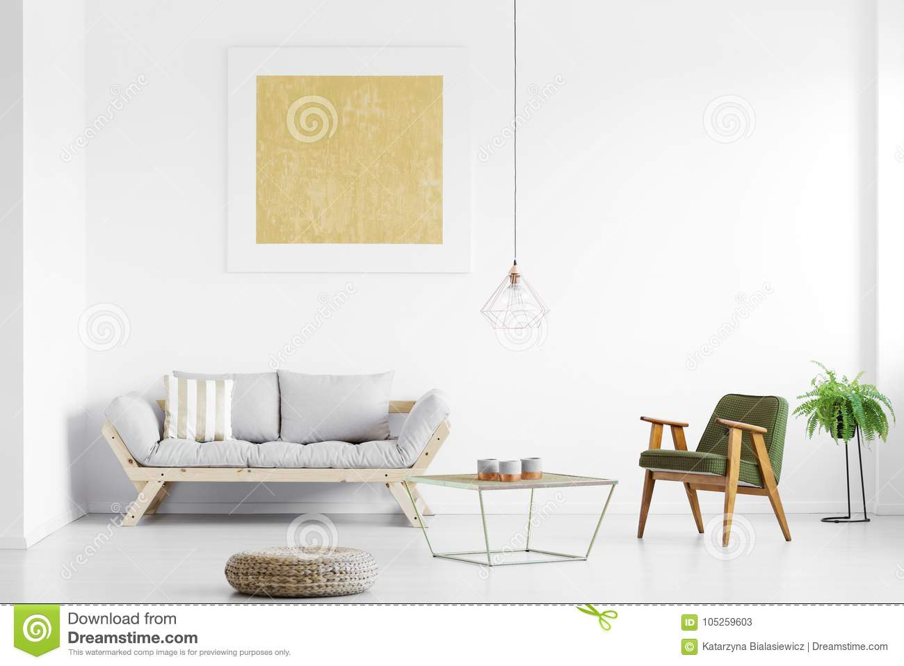 Grey sofa in living room stock image. Image of pouf - 105259603