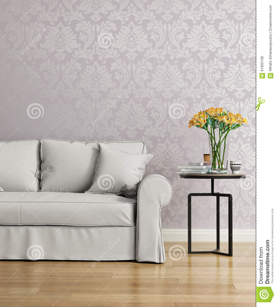 grey sofa with a purple damask victorian wallpaper stock photo image 61855138. Black Bedroom Furniture Sets. Home Design Ideas