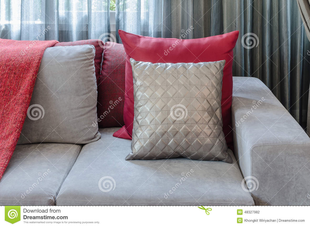 Grey Sofa With Red Pillow In Living Room At Home Stock Photo Image Of House Curtain 48327982