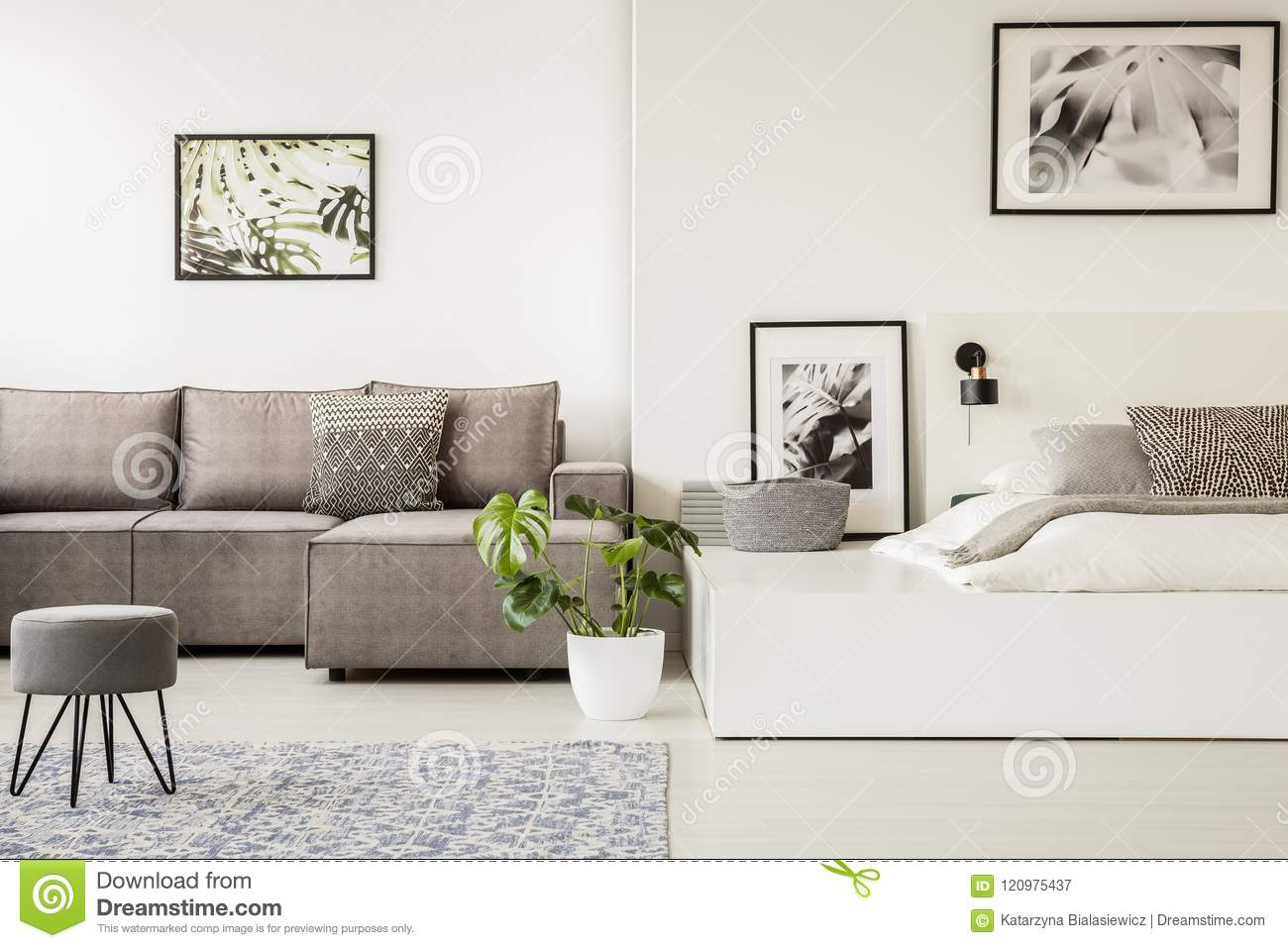 Pleasing Grey Stool In Front Of A Corner Sofa In Open Space Interior Short Links Chair Design For Home Short Linksinfo
