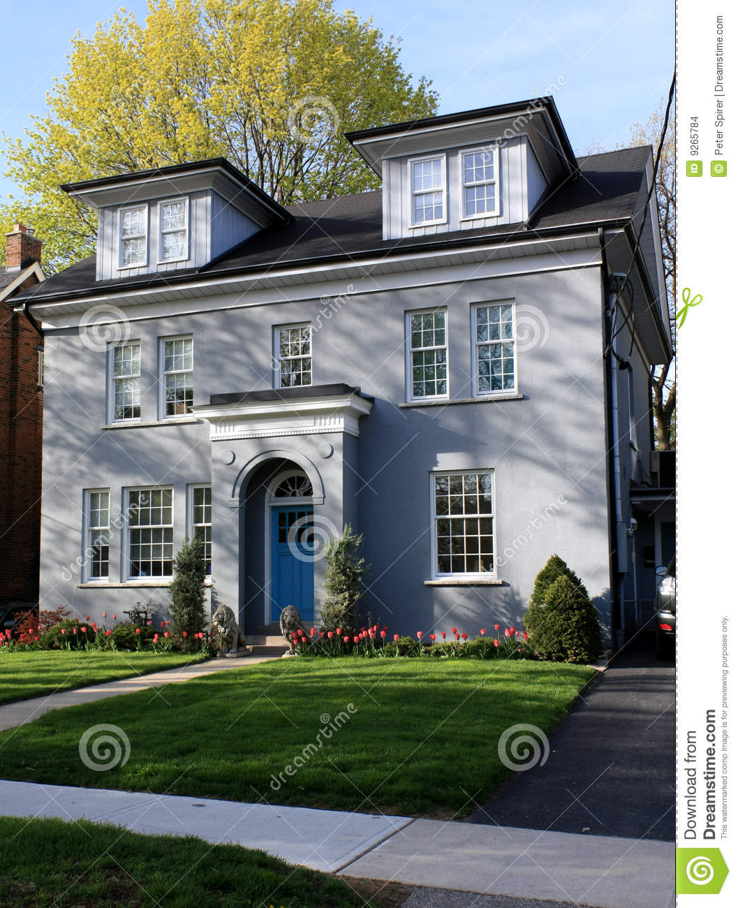 Grey Stucco House With Dormers Stock Photo Image Of