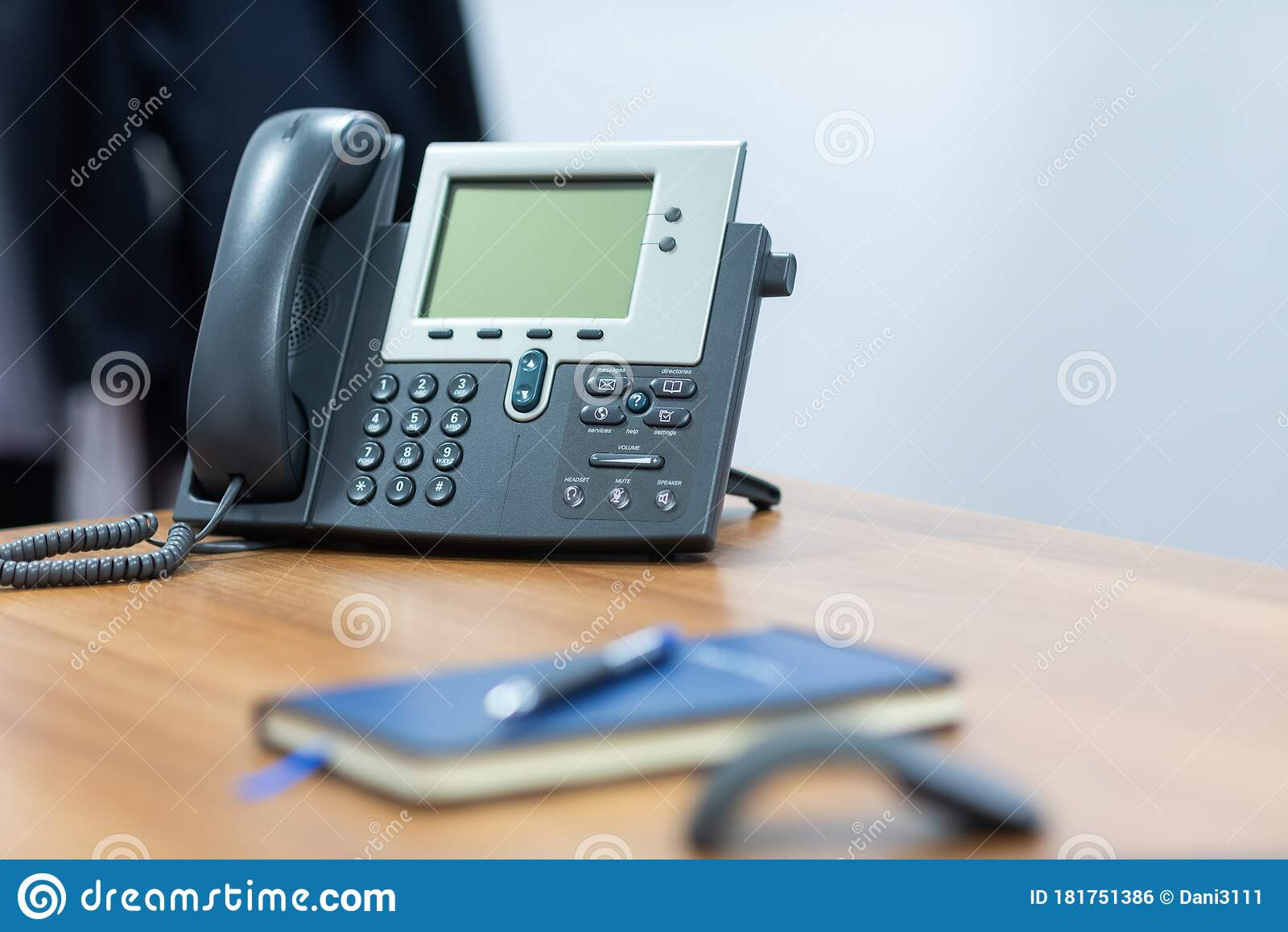 Grey Telephone In Office Desk Stock Photo Image Of Voip Keypad 181751386