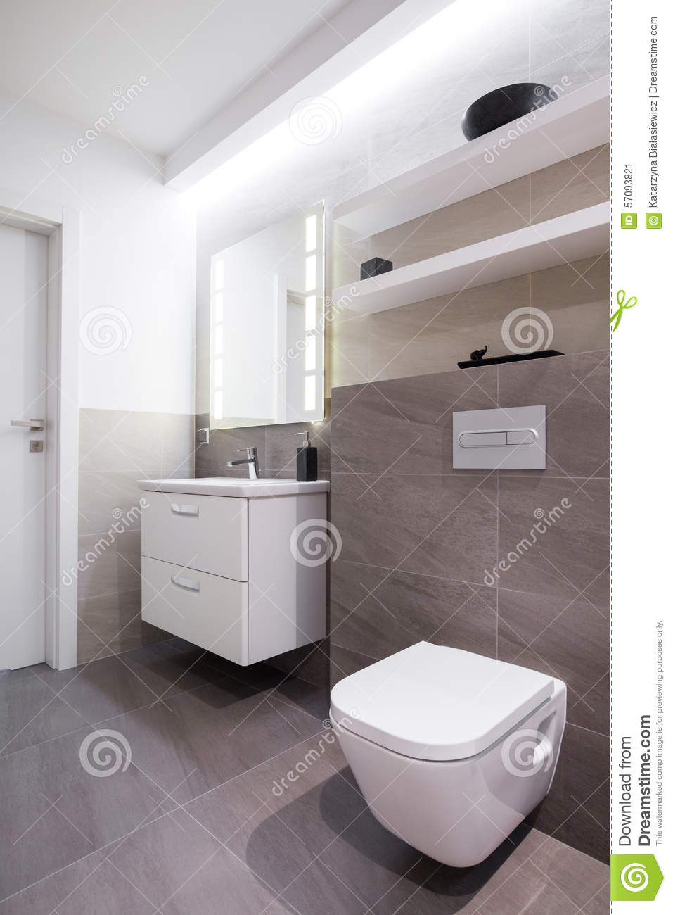 Grey tiles in bathroom stock image image of contemporary for Moderne wandfliesen