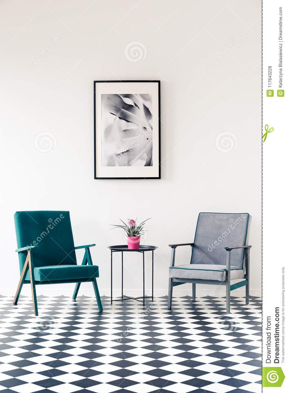 Grey And Turquoise Living Room Stock Photo - Image of space, living ...