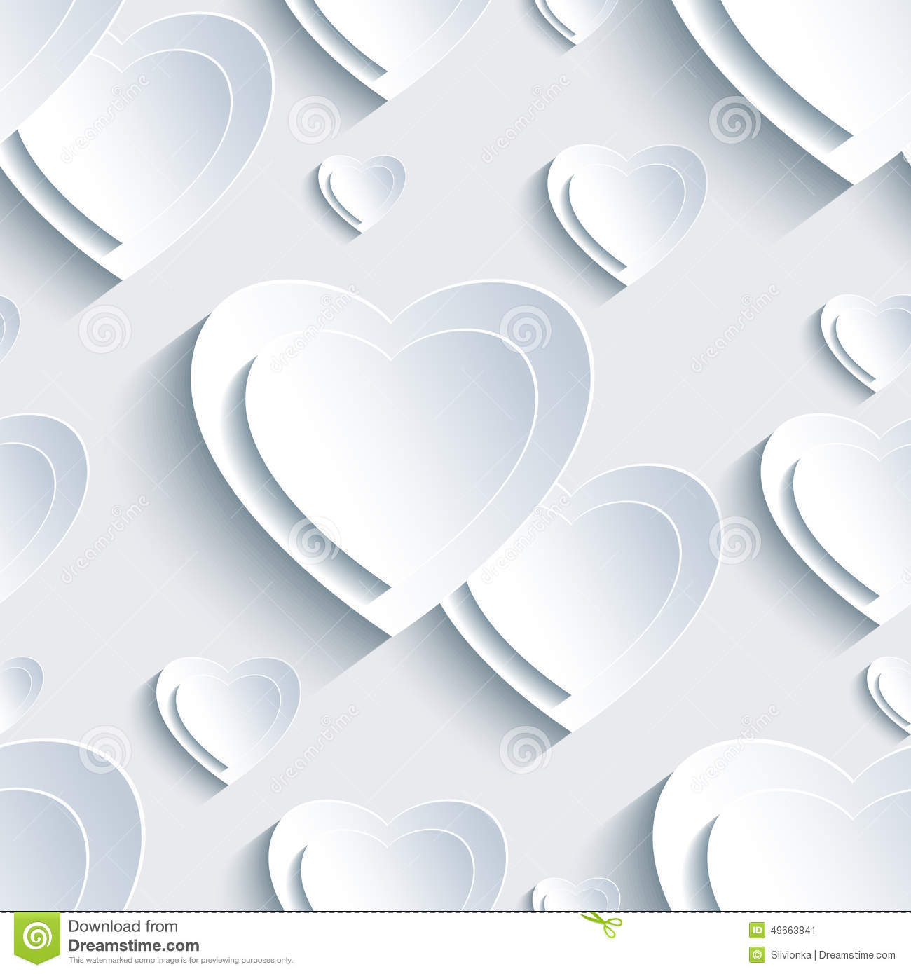 Grey Valentine S Day Seamless Pattern With 3d Hearts Stock