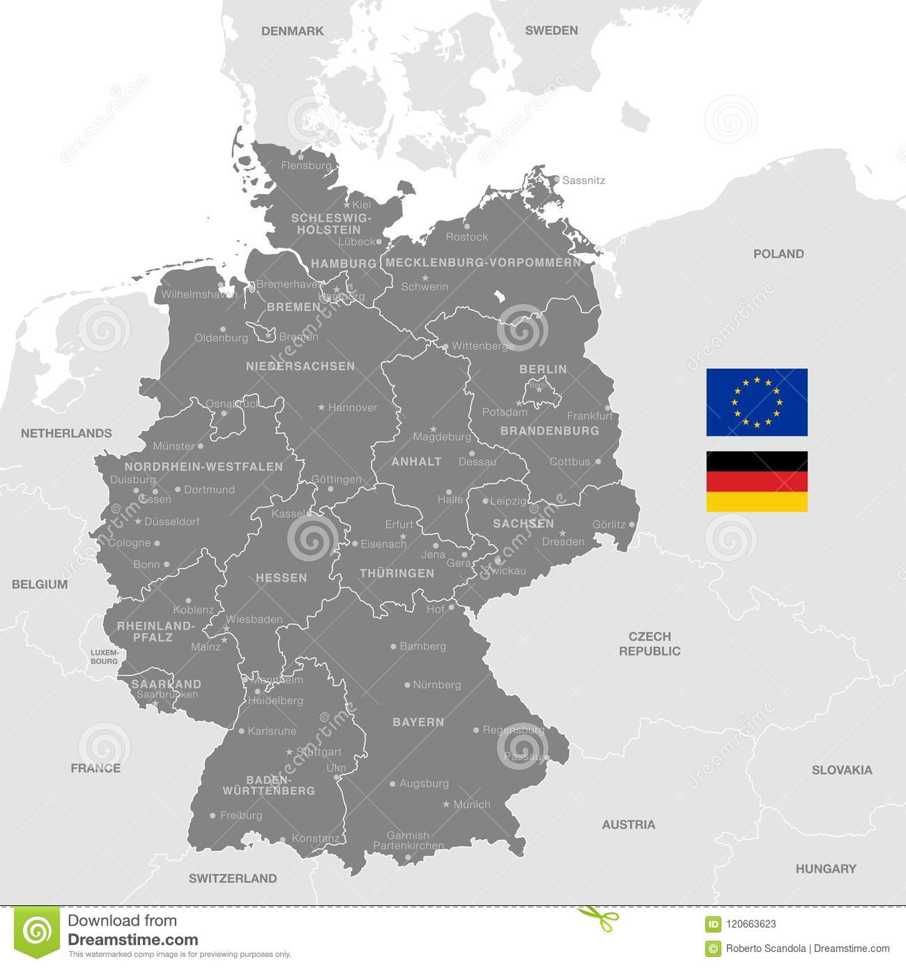 Grey Vector Political Map Of Germany Stock Vector - Illustration of ...