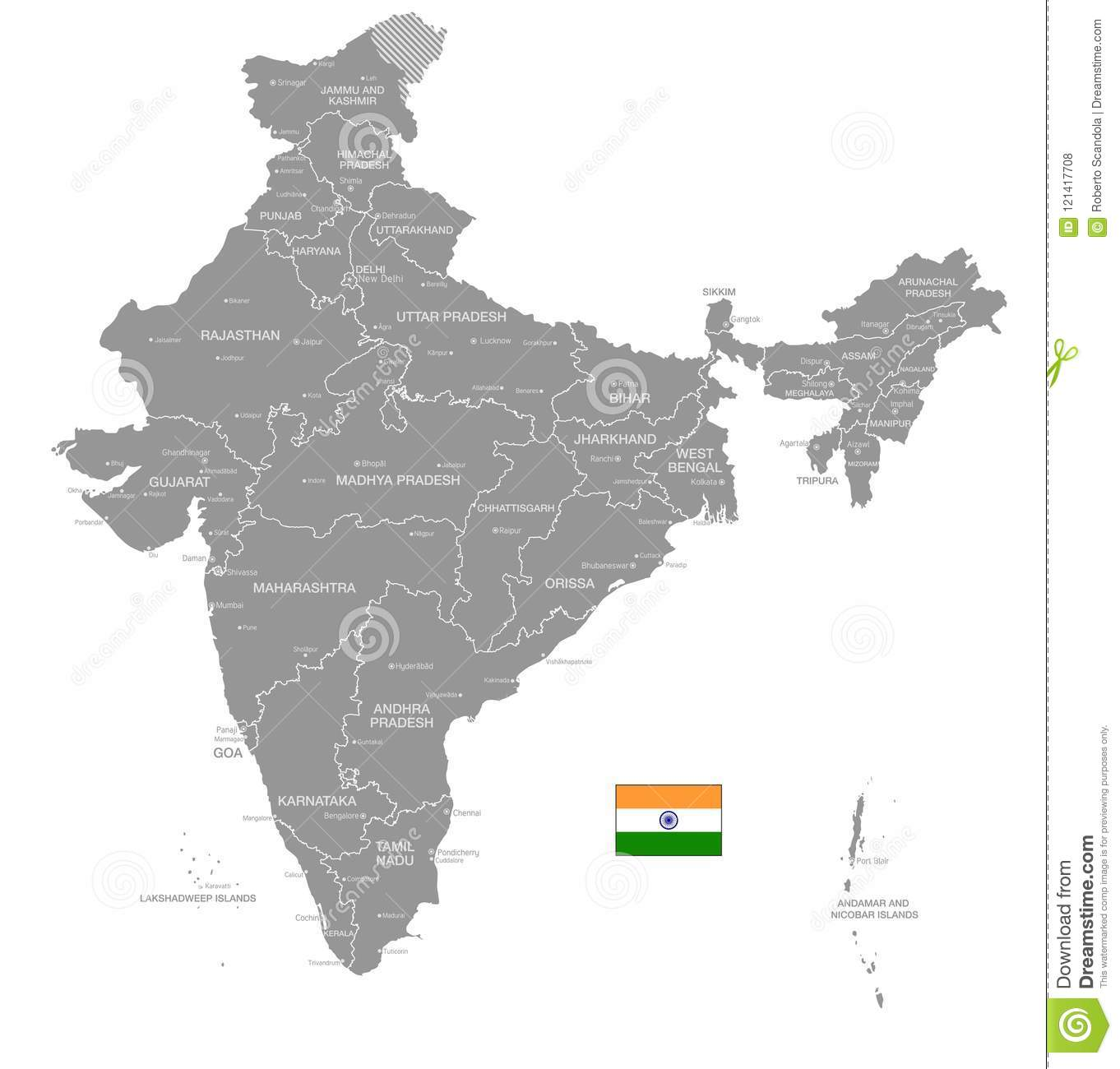 Grey vector political map of india stock vector illustration of grey vector political map of india gumiabroncs Gallery
