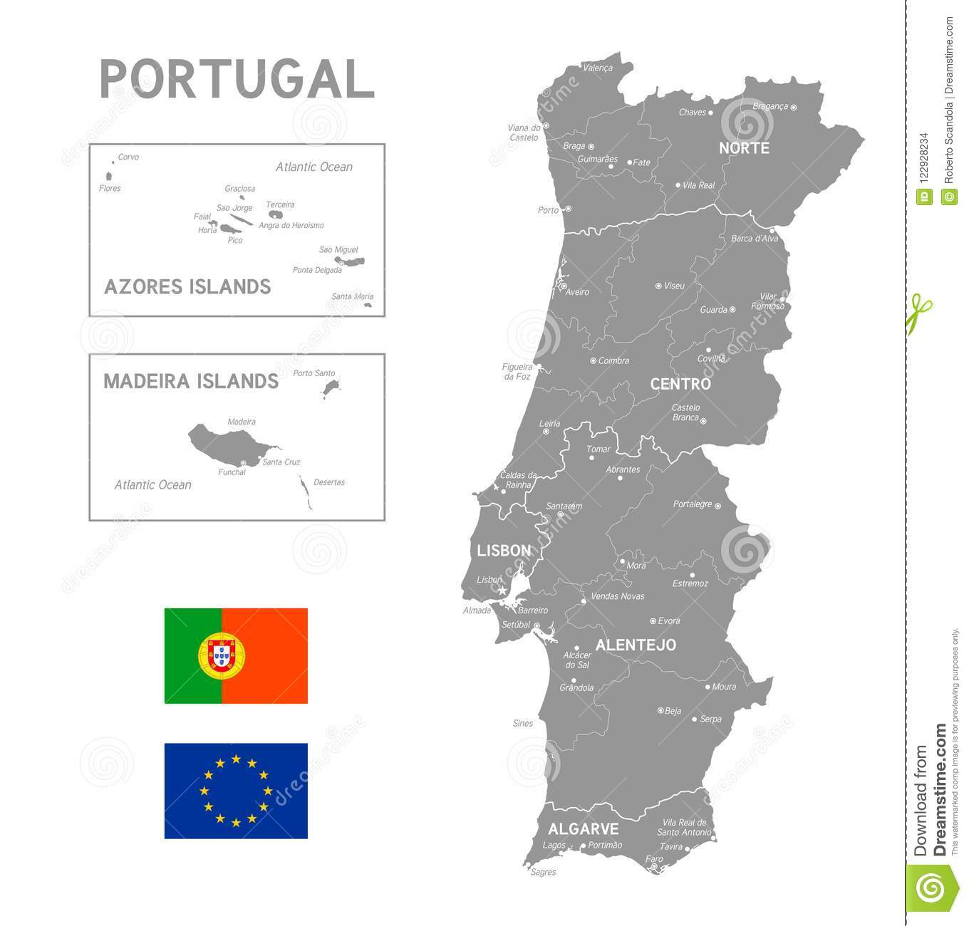 Grey Vector Political Map De Portugal Ilustracion Del Vector Ilustracion De Grey Portugal 122928234