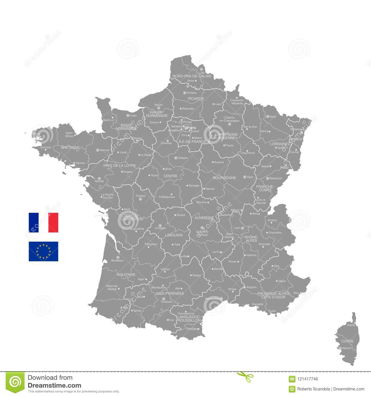 Map Of France Political.Grey Vector Political Map Of France Stock Vector Illustration Of
