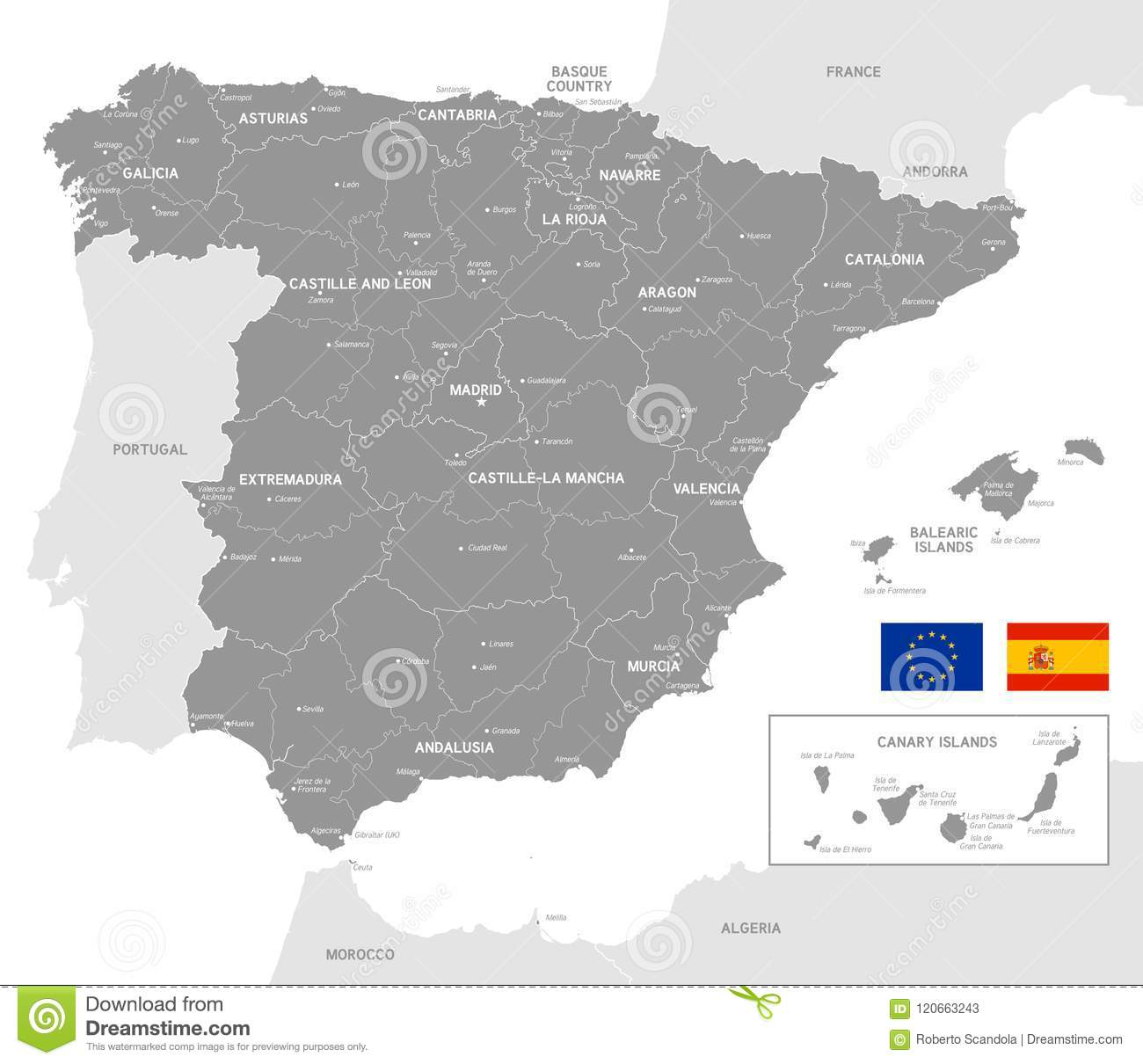 Map Of Spain Zamora.Grey Vector Political Map Of Spain Stock Vector Illustration Of