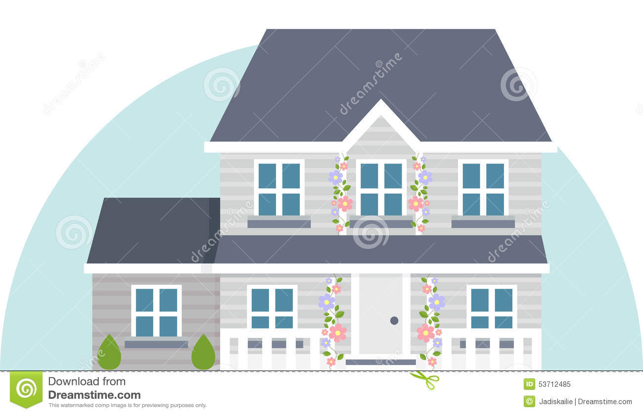 2 Car Garage With Apartment Grey Vector Two Story House Stock Vector Illustration Of