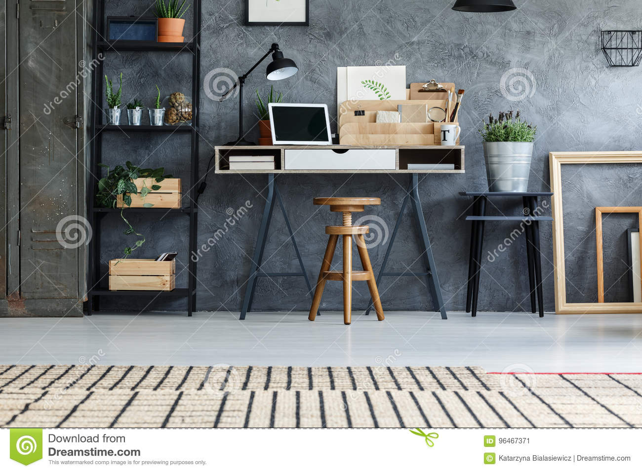 Grey Wall In Hipster Office