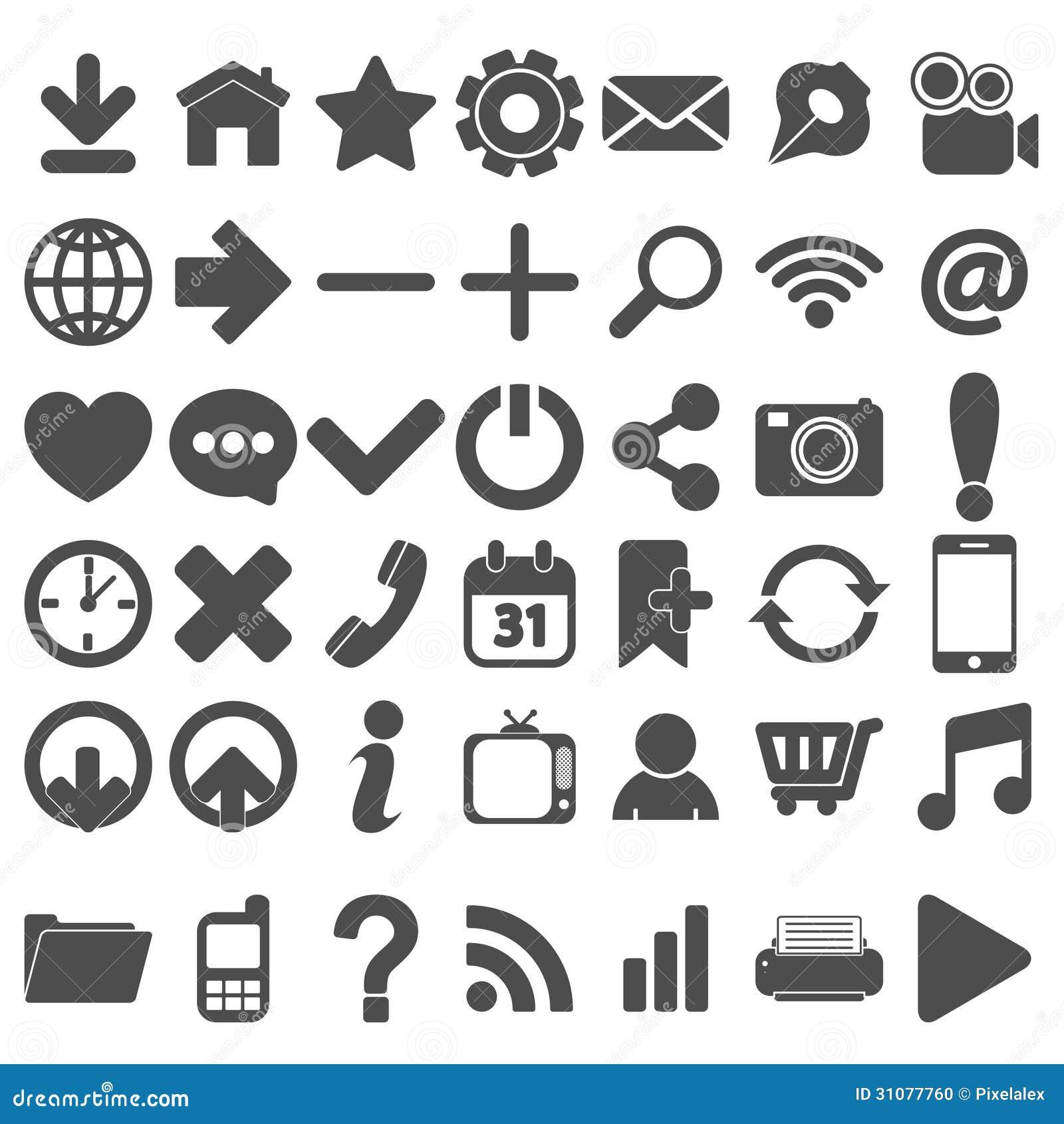 grey web icons set on white stock photo image 31077760