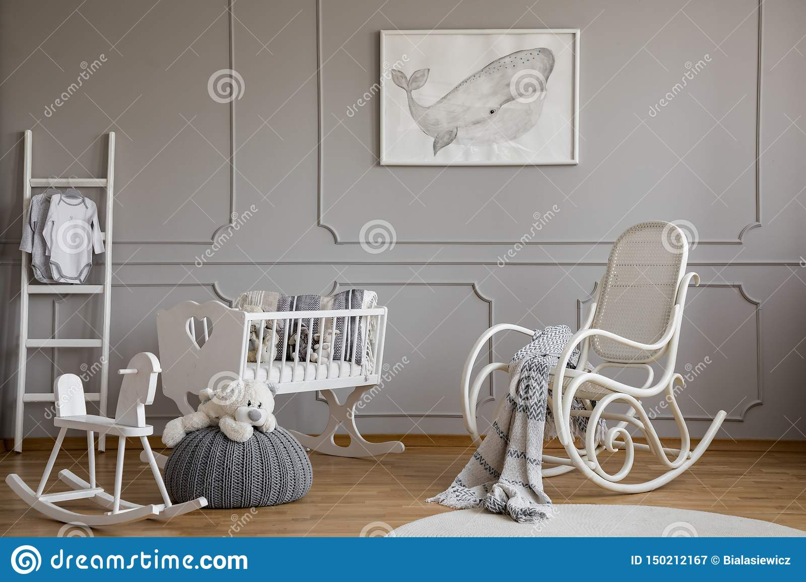 Remarkable Grey Whale On Poster In Classy Baby Room Interior With White Pabps2019 Chair Design Images Pabps2019Com