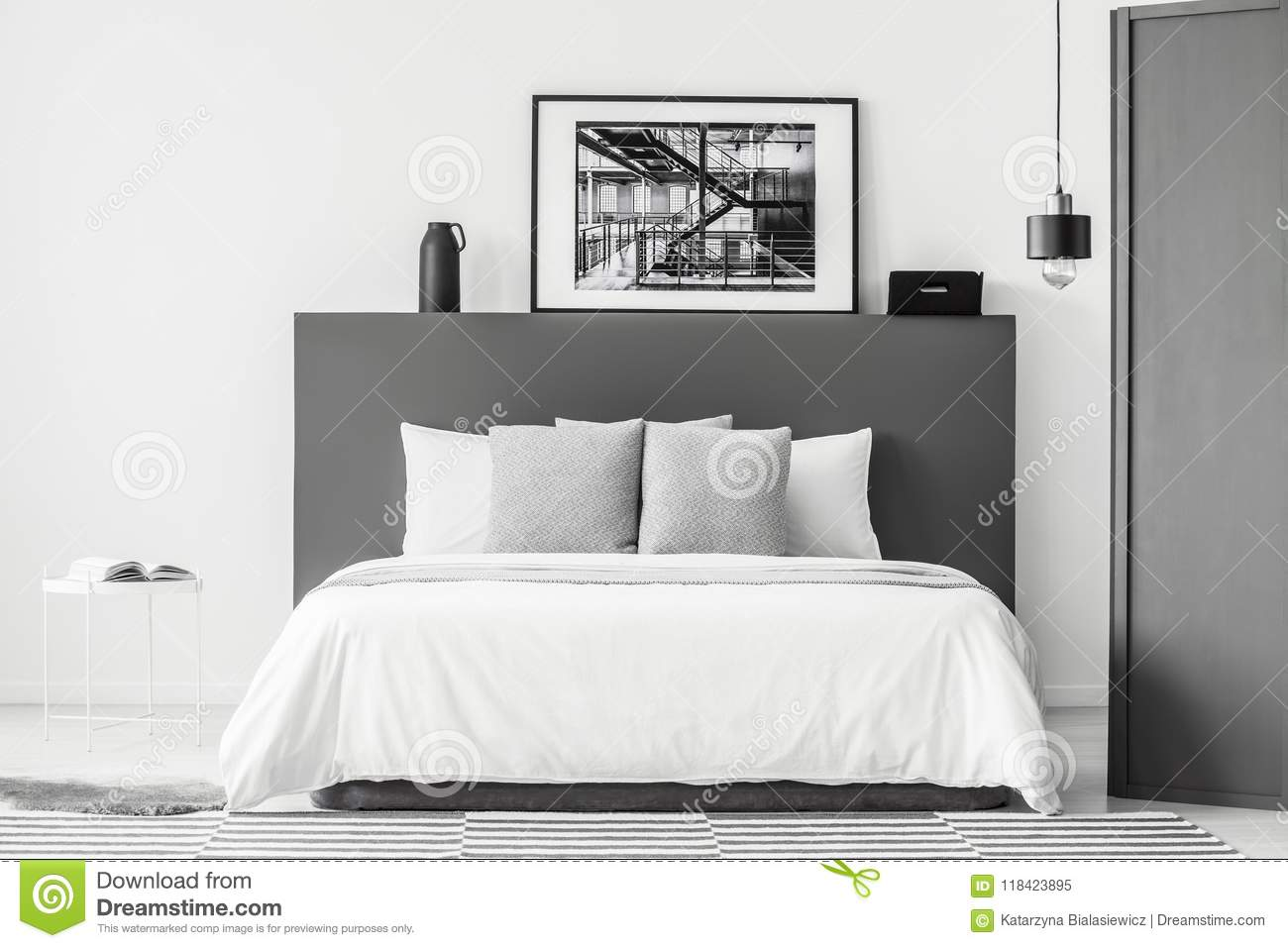 Grey And White Bedroom Interior Stock Image Image Of