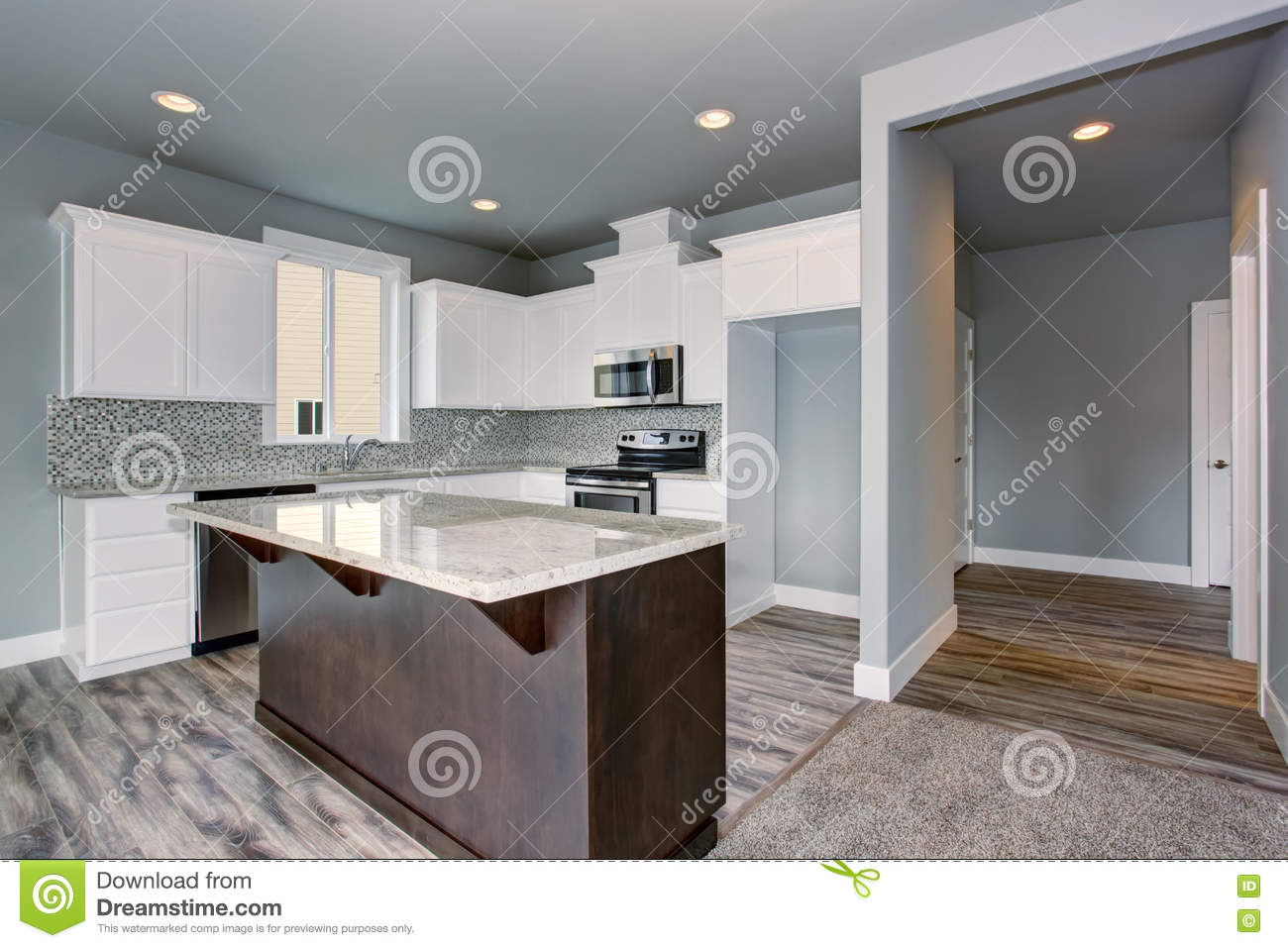 Grey and white kitchen interior with dark brown kitchen for Grey and brown kitchen