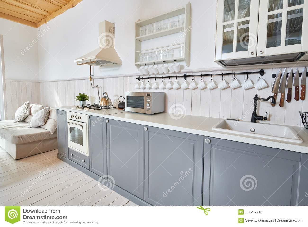 Grey and White Kitchen stock photo. Image of ideas, grey - 117207210
