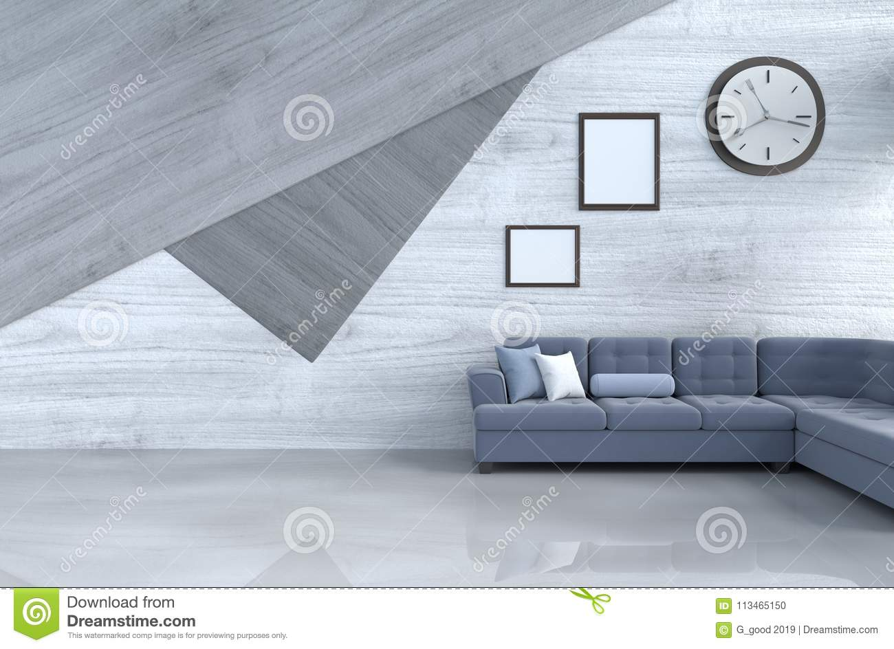 Grey White Living Room Decor With Blue Sofa Stock Illustration Illustration Of Bright Home 113465150