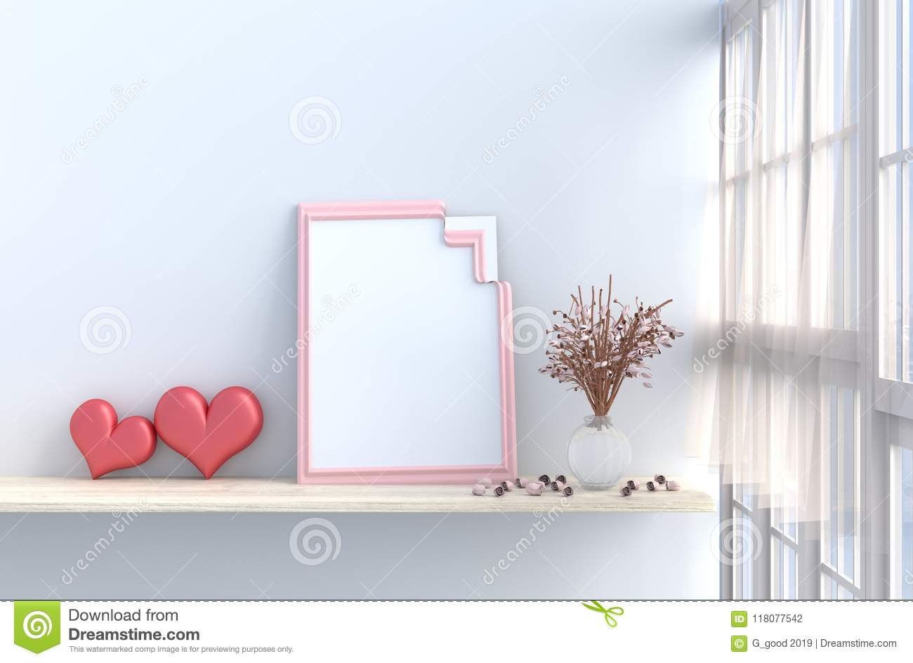 Grey White Living Room Decor With Two Hearts For Valentine Day