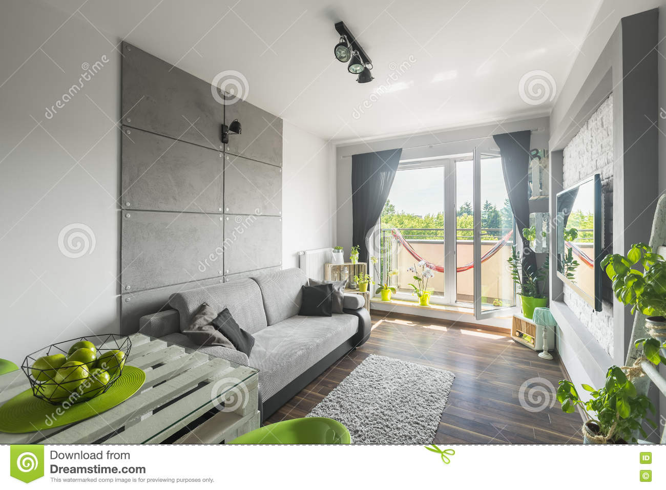 Grey And White Living Room Idea Stock Photo Image Of Decoration Effect 74318404