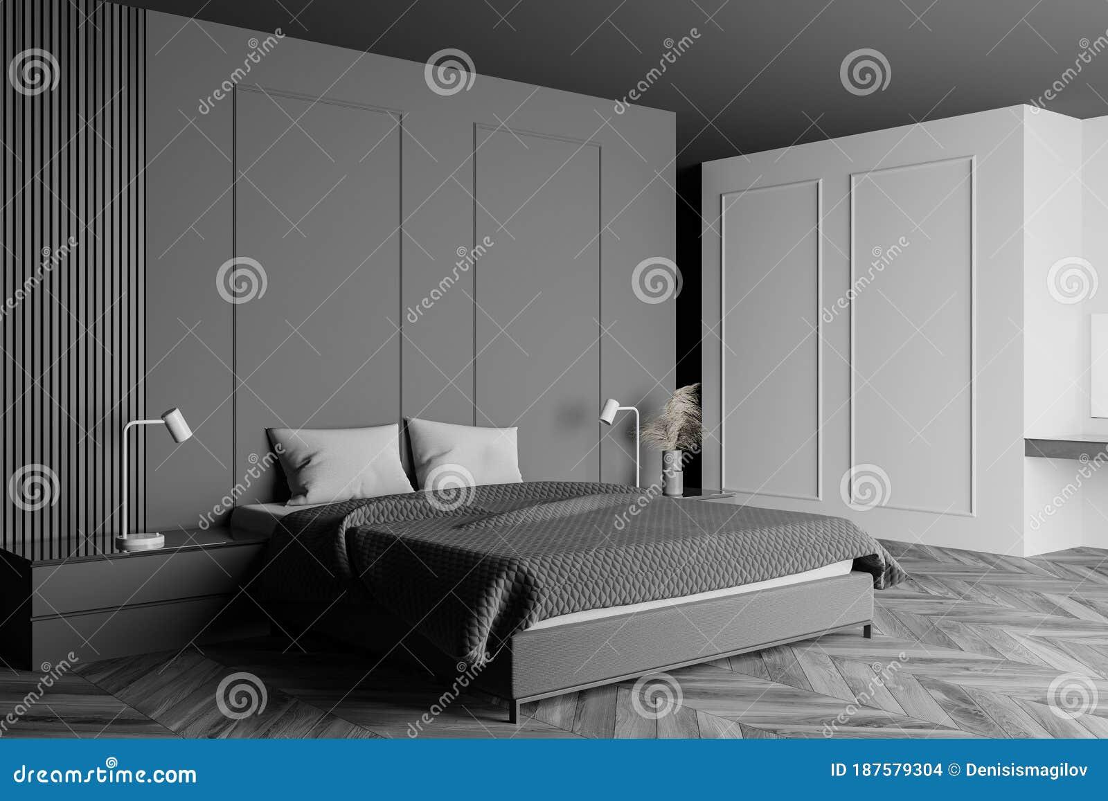 Grey And White Master Bedroom Corner Stock Illustration Illustration Of Living Decor 187579304
