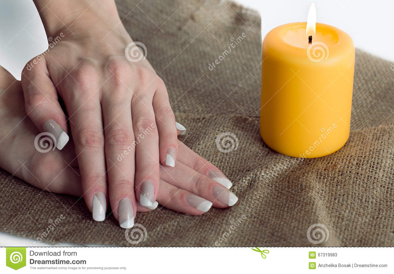 Grey With White Nail Asymmetry Art Manicure Stock Image Image Of