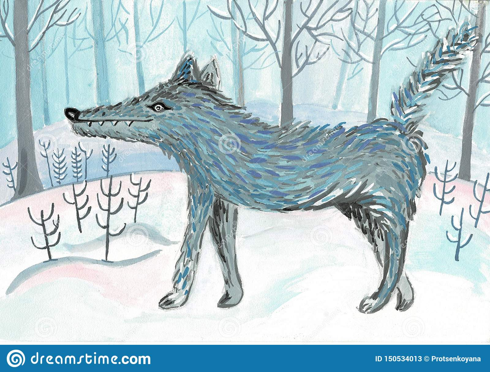 Cartoon wolf, cute character for children. Raster illustration in cartoon style.