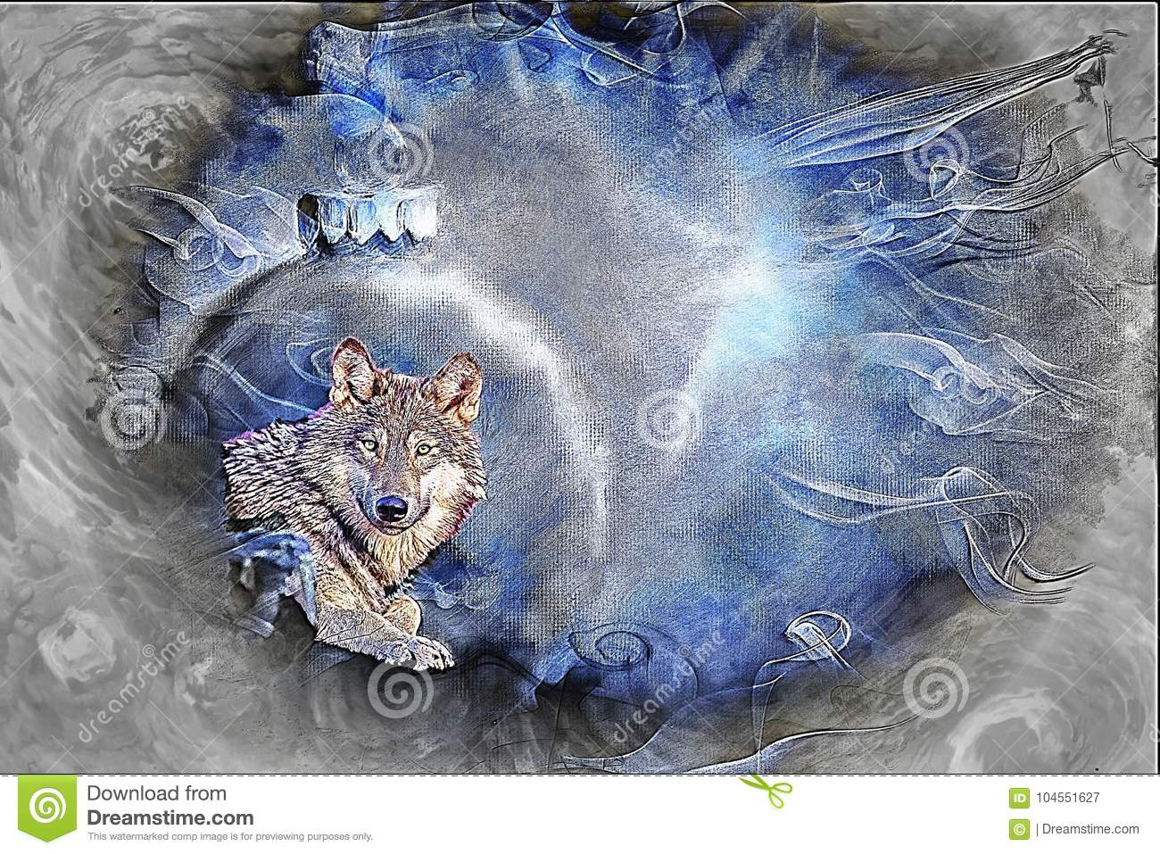 Grey Wolf Fine Art / Greeting Card Background Stock Illustration ...