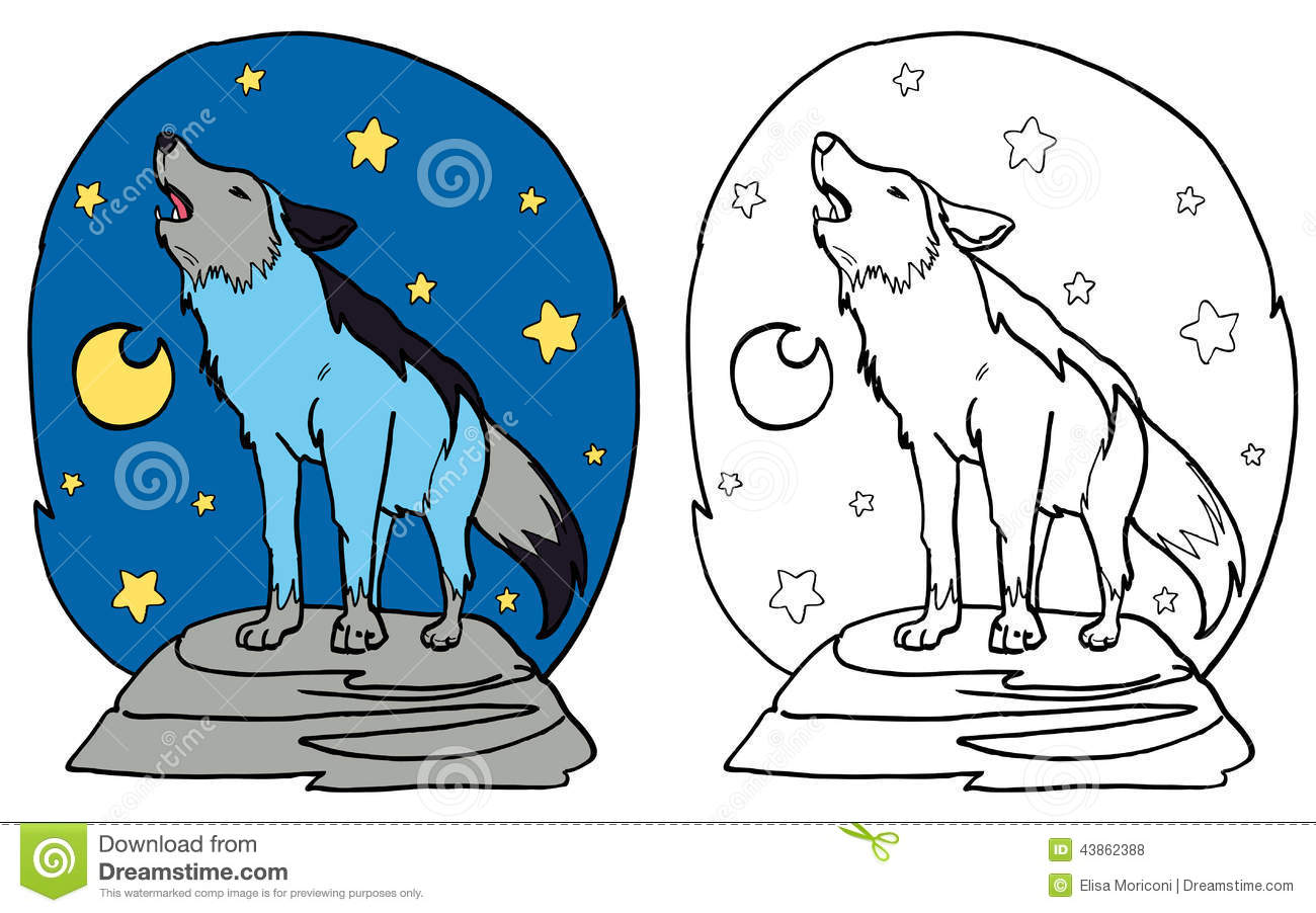 Simple Wolf Howling At The Moon Drawing