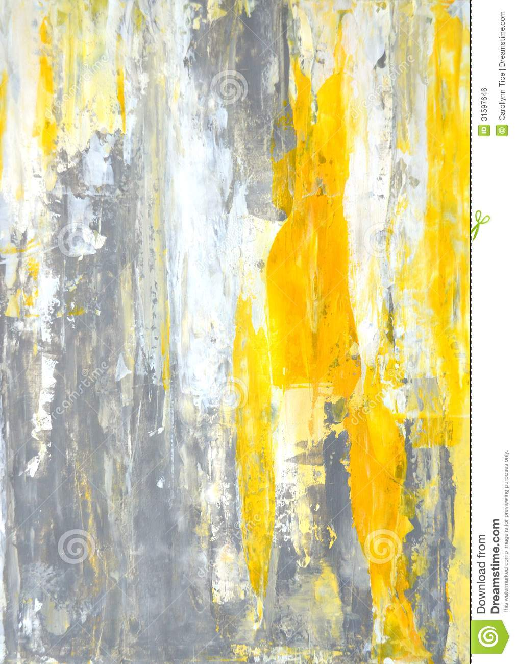 Grey And Yellow Abstract Art Painting Stock Illustration