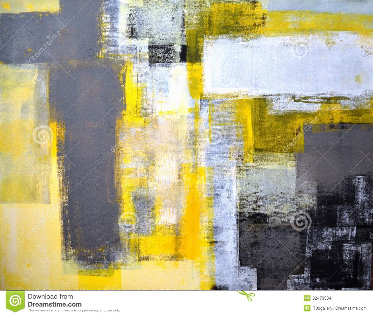 Grey And Yellow Abstract Art Painting Stock Photo Image Of