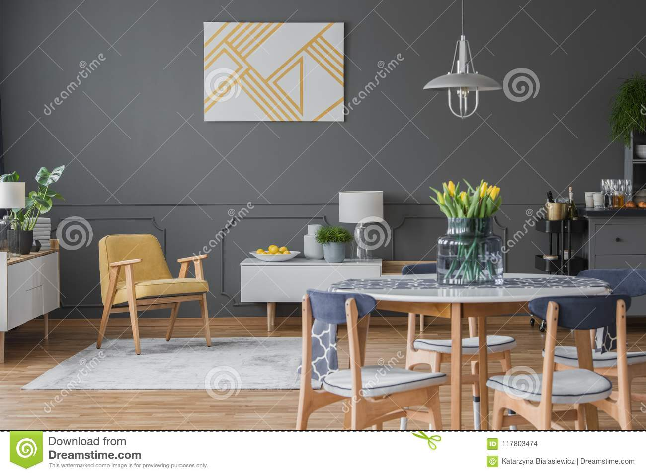 Grey And Yellow Open Space Stock Photo Image Of Furniture