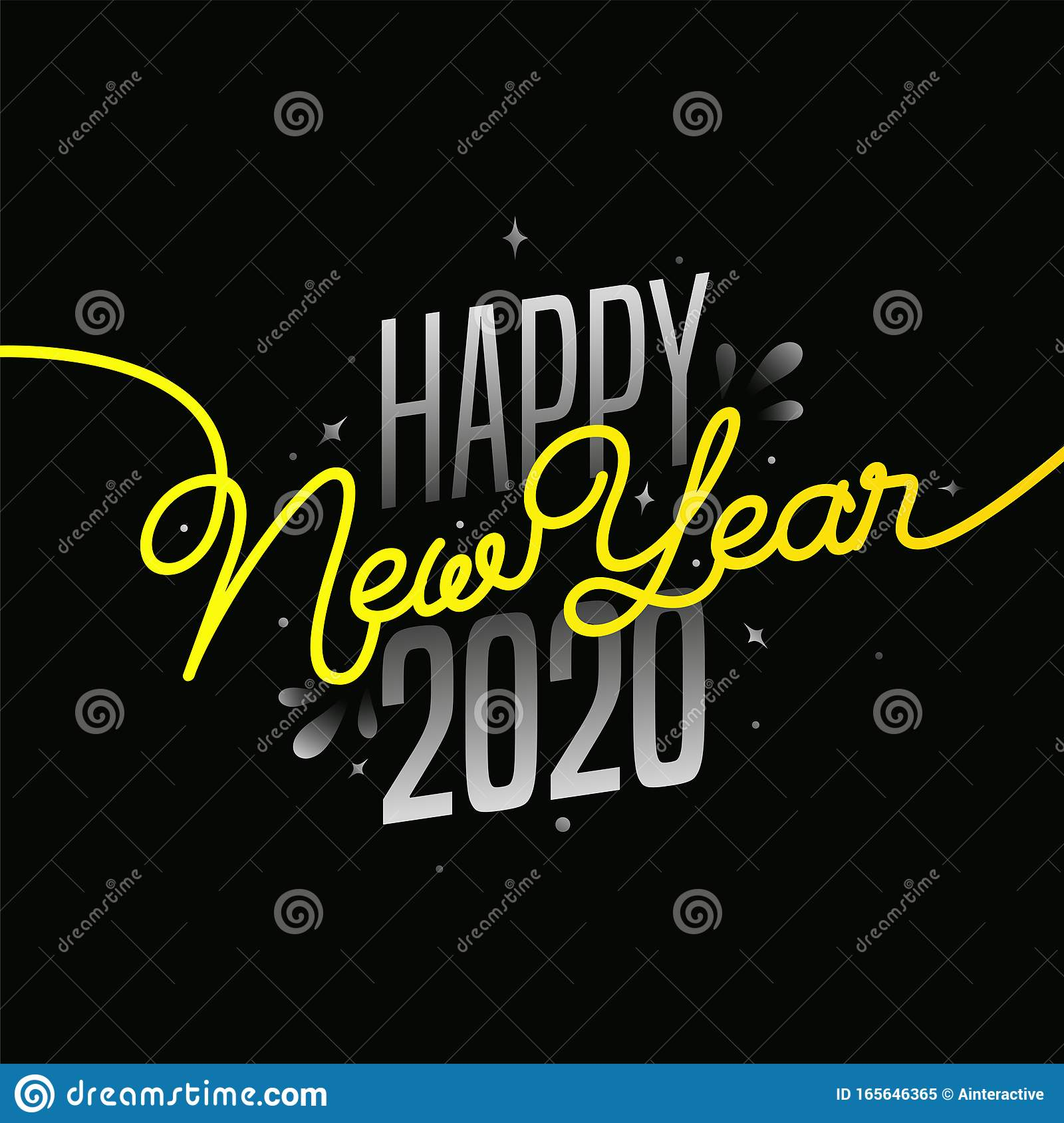 Grey And Yellow Text Of Happy New Year 2020 Stock Illustration