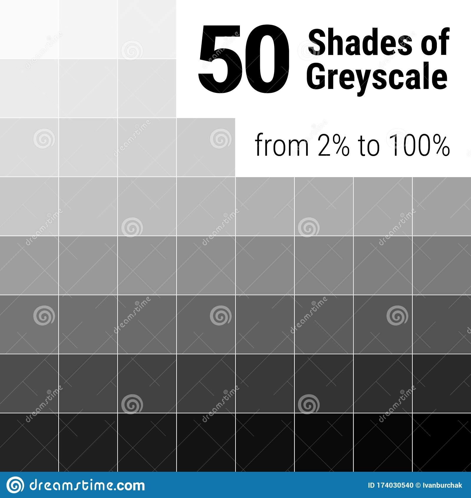 Greyscale Palette 50 Shades Of Grey Grey Colors Palette Color Shade Chart Vector Illustration Stock Vector Illustration Of Percent Background 174030540