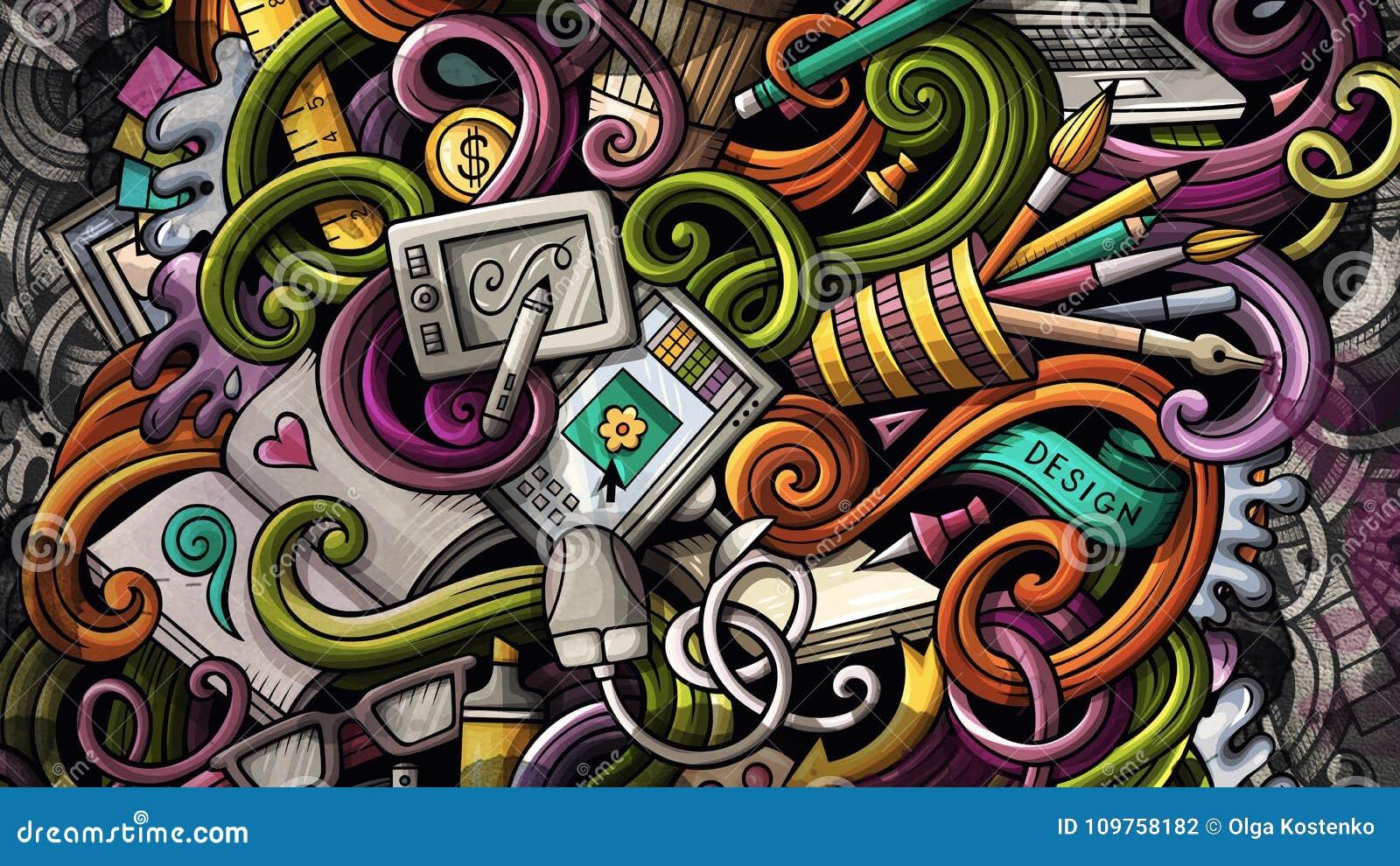 Gribouille l illustration de conception graphique Fond créateur d art